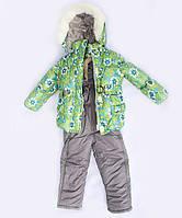 """Детский зимний костюм для девочки на синтепоне """"Цветы"""" зеленый, 1-4 лет"""