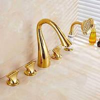 Антикварных ти-PVD пять отверстий тремя ручками водопад ванной кран с ручным душем 05367801
