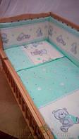 Комплект постельного белья в детскую кроватку Мишка с кубиками бирюзовый (простынь, наволочка, пододеяльник)