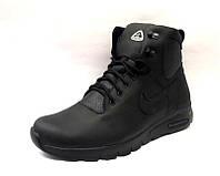 Ботинки мужские Nike кожа натуральная на меху зимние черные 0156НИМ