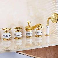 Антикварных ти-PVD пять отверстий тремя ручками водопад ванной кран с ручным душем 05367800