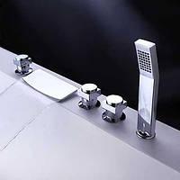 Стильный кран водопад, из твердой латуни, с ручным душем, для ванной комнаты 00077596