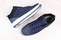 Ботинки мужские, зимние, из натурального нубука, с кожаными вставками, темно-синие, на меху, на шнурках
