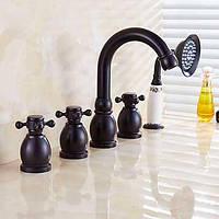 Античный римский водопад ванной / лейка в комплекте с керамическим клапаном двумя ручками пять отверстий для масла втирают бронзы 05367795