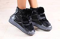 Женские зимние ботинки, комбинированные: натуральная дубленка и лаковая кожа, на меху, сверху натуральный мех