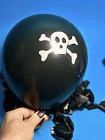 Шары Воздушные Надувные Шарики Черные с Рисунком Череп Пирата с Костями