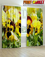 Фотошторы желто-черные цветы
