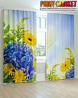 Фотошторы желтые и голубые цветы 3Д