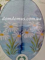 """Подарочный набор полотенец """"Ромашка"""" (банное+лицевое) TWO DOLPHINS, Турция голубой"""