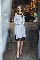 """Комбинированное платье-двойка """"Soft""""  с четвертным рукавом (2 цвета)"""
