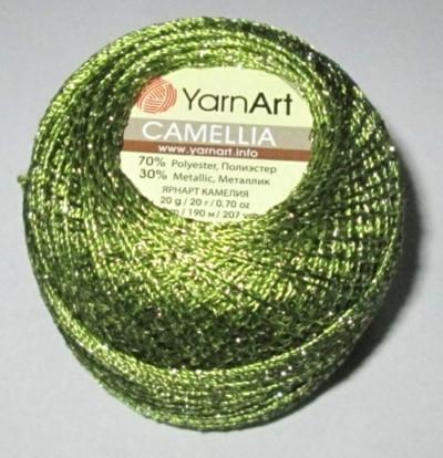 Нитки Камелія, зелений металік