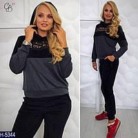 Стильный графитный женский спортивный костюм  из  трикотаж+велюр. Арт-15000/2