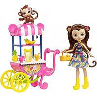 Enchantimals Набор Хобби на колесах Фреш-кафе Fruit Cart Doll Playset, Fruit Cart & Monkey