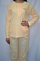 Пижама женская теплая кремовая, розовая и желтая  размер XXL (50-52) 100% коттон
