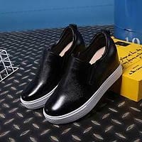 Для женщин Мокасины и Свитер Удобная обувь Кожа Осень Повседневные Удобная обувь На танкетке Белый Черный 2,5 - 4,5 см 05304351