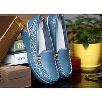 Для женщин Мокасины и Свитер Удобная обувь Кожа Осень Повседневные Удобная обувь На танкетке Белый Оранжевый Желтый Синий 7 - 9,5 см 05297766