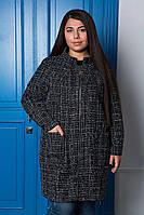 """Легкое шерстяное пальто из """"букле"""".  Большие размеры"""