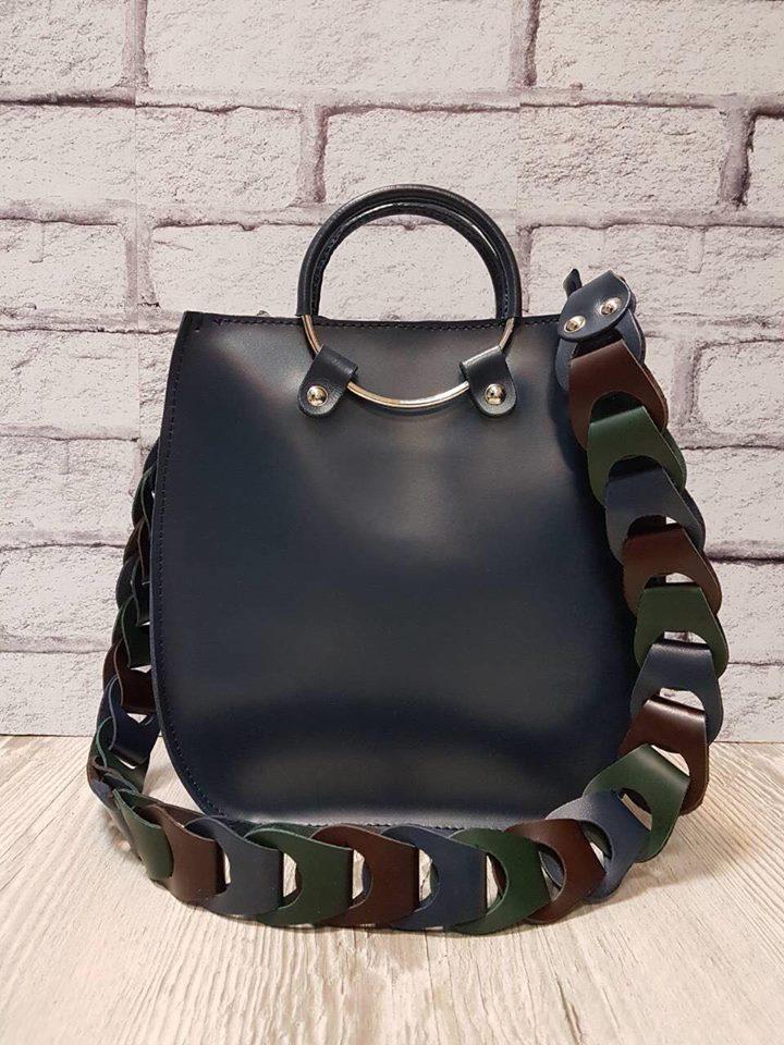 Оригінальна сумка з натуральної шкіри синя 1710