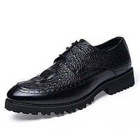 Для мужчин Туфли на шнуровке Босоножки Кожа Полиуретан Весна Лето Повседневные Босоножки На низком каблуке На толстом каблукеЧерный 05725679