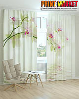 Фотошторы вода и белая орхидея