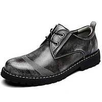 Коричневый Серый-Мужской-Для прогулок Повседневный Для занятий спортом-Наппа LeatherУдобная обувь-Туфли на шнуровке 05434136
