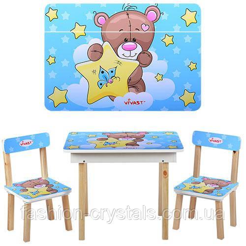 Детский стол + 2 стула мишка