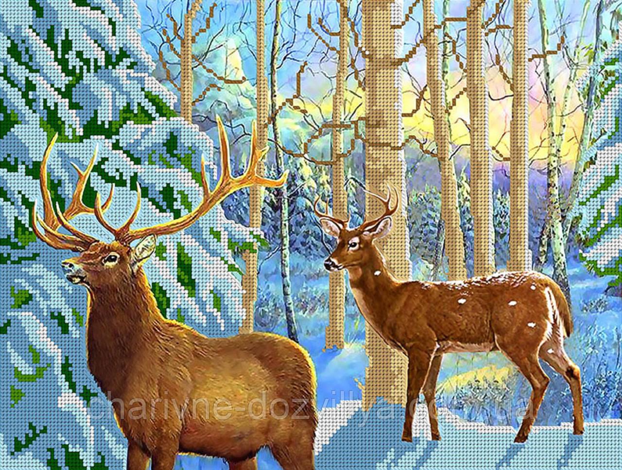 """Схема для вышивки бисером """"Олени. В диком лесу"""""""