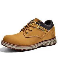 Черный Желтый Серо-коричневый-Мужской-Для прогулок Повседневный Для занятий спортом-Наппа LeatherУдобная обувь-Туфли на шнуровке 05464857