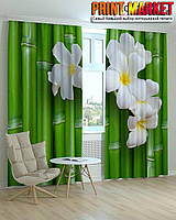 Фотошторы 3Д бамбук и цветы