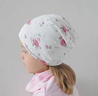 Демисезонная шапочка бини на девочку в цветы. Бамбук. ОГ 50-52, 52-54, 54-56 см, фото 1