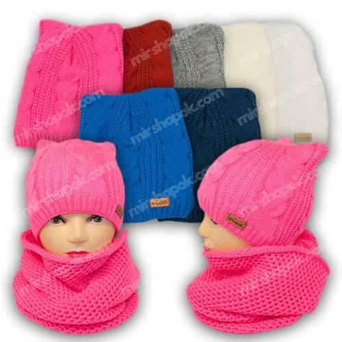 Комплект шапка и шарф (хомут) для девочки, р. 50-52, подкладка флис, 8400