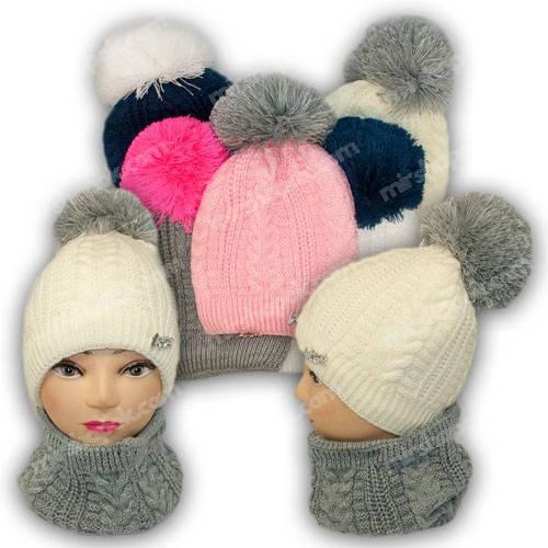 Комплект шапка и шарф (труба) для девочки, р. 52-54, подкладка флис, 7080