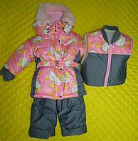 Детский зимний термокомбинезон Зимушка р.80-116 девочкам Китти розовый серые вставки арт. 41
