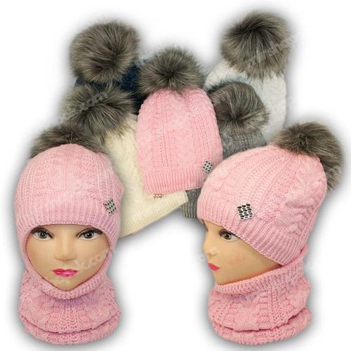 ОПТ Комплект шапка и шарф (труба) для девочки, р. 52-54, подкладка флис, 7082 (5шт/набор)