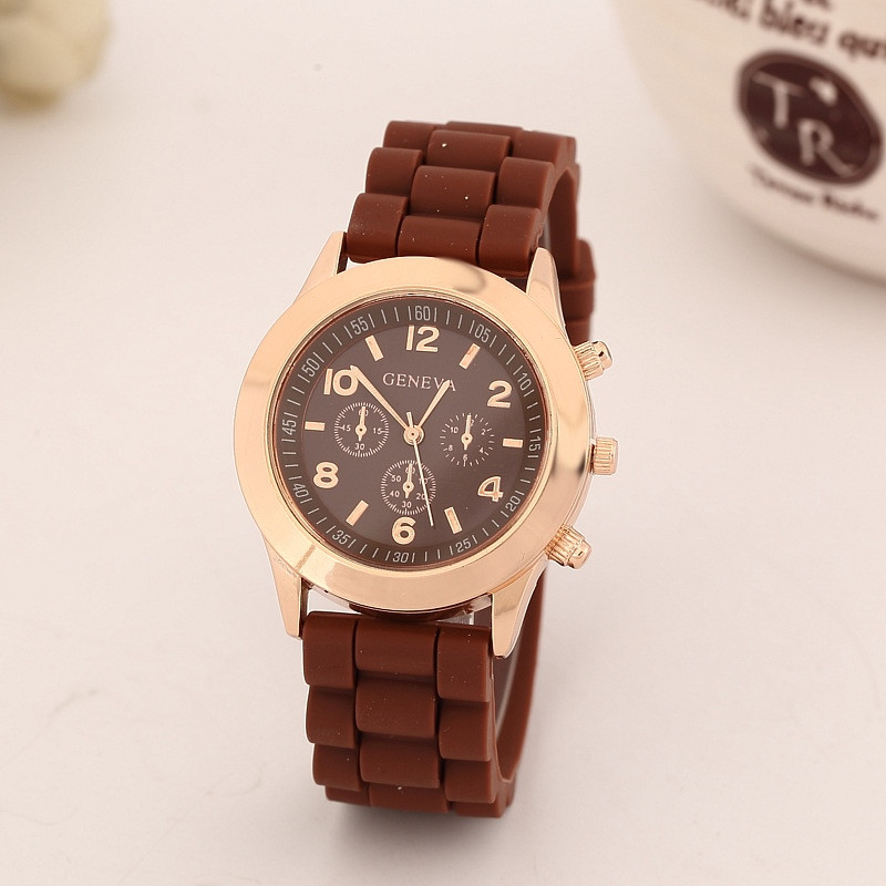 Женские часы силиконовые Geneva Luxury Gold Brown коричневые