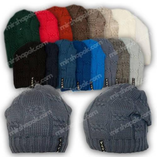 Вязаная шапка для девочки, р. 52-54, подкладка флис, 7071