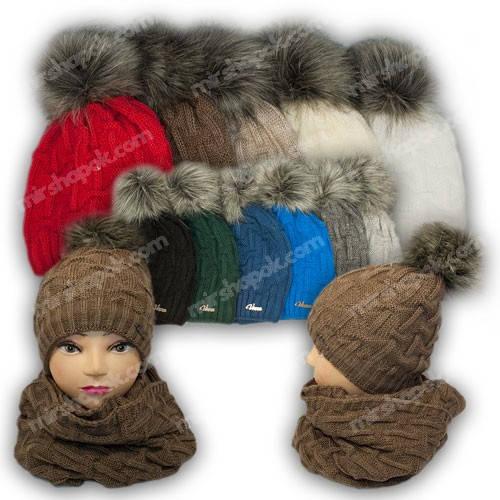Комплект шапка и шарф (хомут), р. 52-54, подкладка флис, 7069