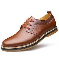 Черный / Светло-коричневый-Мужской-Свадьба / Для офиса-Кожа-На плоской подошве-Удобная обувь / С круглым носком-Туфли на шнуровке 05252821