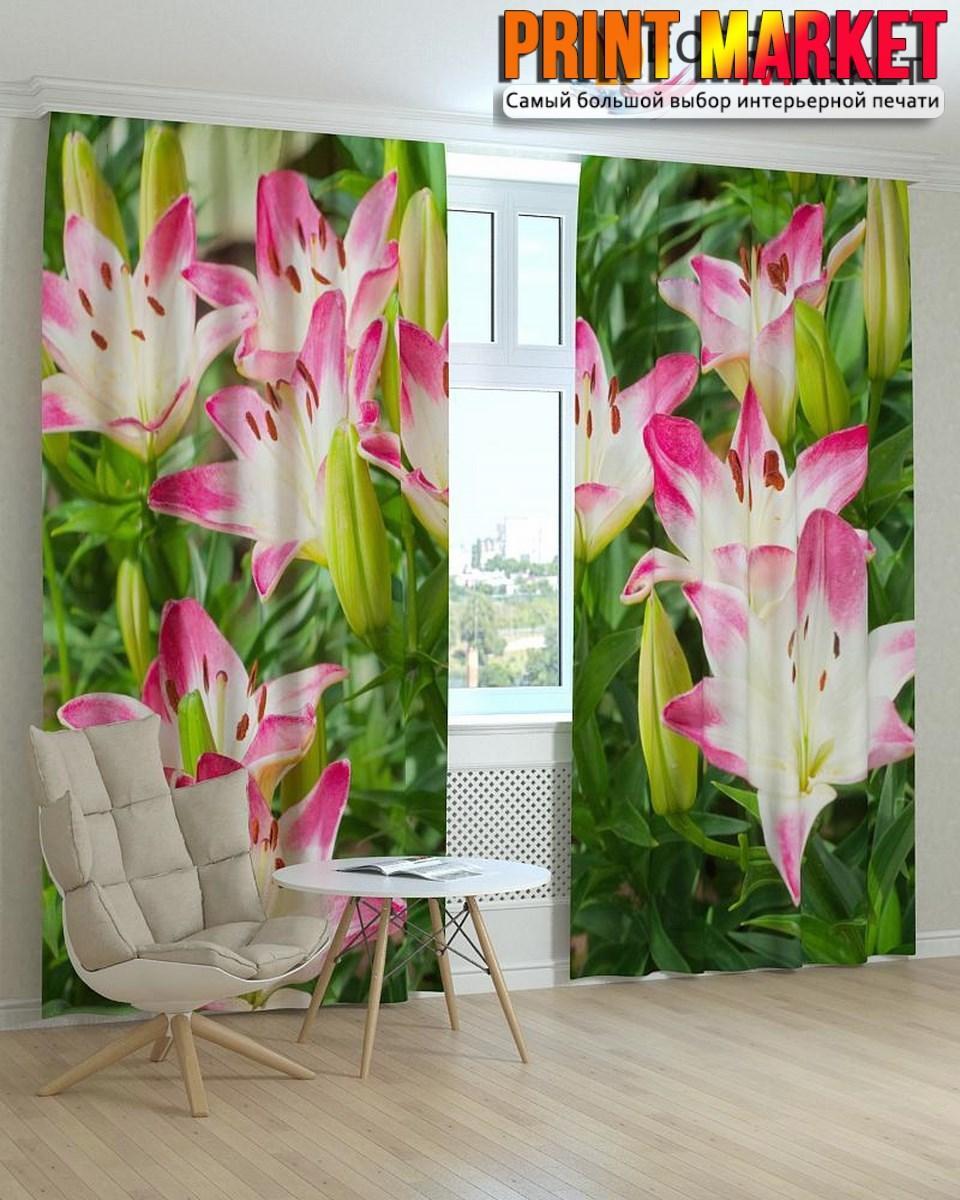 Фотошторы розовые лилии