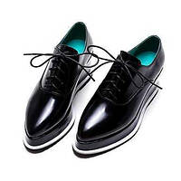Для женщин Туфли на шнуровке Удобная обувь Полиуретан Весна Осень Повседневные Удобная обувь Шнуровка На танкетке Черный Синий Миндальный 05291731