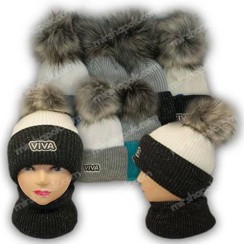Комплект шапка и шарф (труба) для девочки, р. 52-54, подкладка флис, 7079
