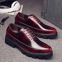 Для мужчин Туфли на шнуровке Босоножки Полиуретан Весна Осень Повседневные Босоножки На низком каблуке На толстом каблукеЧерный Красный 05725708