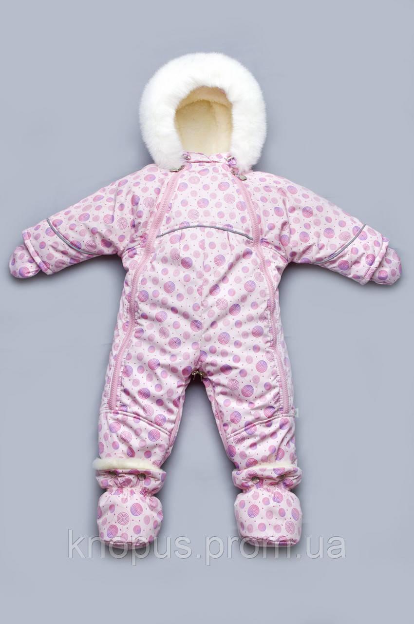 Детский зимний комбинезон-трансформер на овчине для девочки (розовые спиральки), Модный карапуз