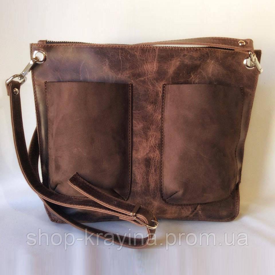 Кожаная сумка VS102 brown 30х23х5 см