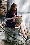 Кожаная сумка VS102 brown green 30х23х5 см, фото 7