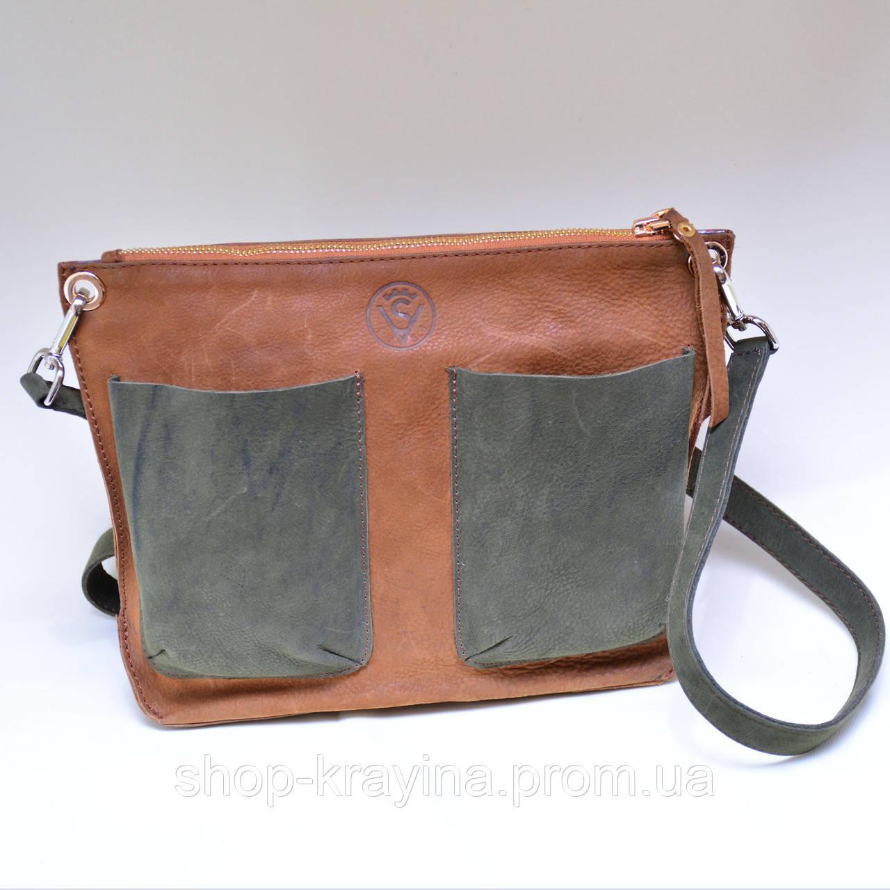 Кожаная сумка VS102 brown green 30х23х5 см