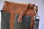 Кожаная сумка VS102 brown green 30х23х5 см, фото 2