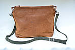 Кожаная сумка VS102 brown green 30х23х5 см, фото 3