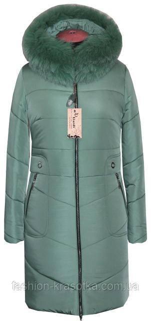 Молодёжное зимнее пальто мятного цвета с натуральным мехом - Интернет  магазин