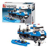 Конструктор SLUBAN M38-B0186, полиция, машина, катер, фигурки 3 шт., 202 деталей, в коробке, 33-24-5 см
